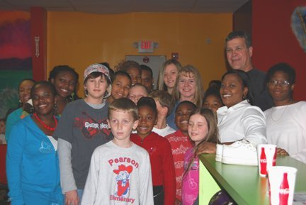 Tonya with children in Douglas 2008